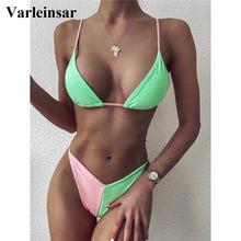 Sexy 2020 High Leg Cut Bikini Splicing Women Swimwear Female Swimsuit Two-pieces Bikini set Bather Bathing Suit Swim Lady V2301