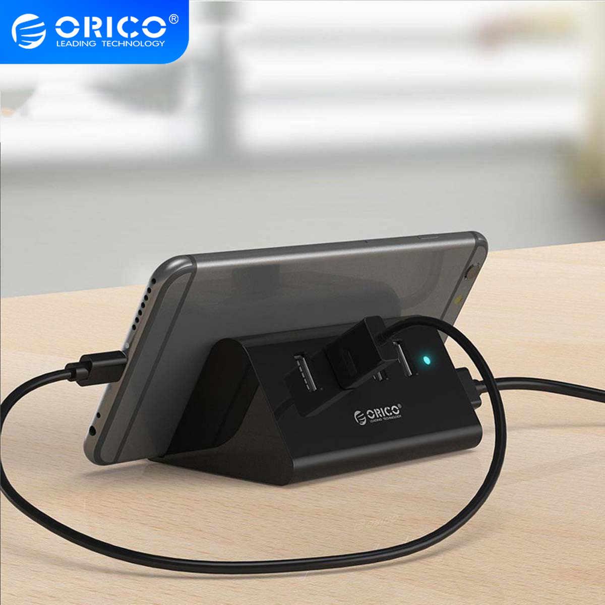 ORICO USB HUB yüksek hızlı Mini 4 port USB2.0/USB3.0 HUB ile masaüstü Laptop için telefon ve Tablet tutucu-Siyah/beyaz (SHC)