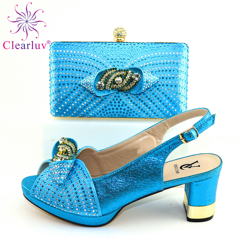 2020 HEELS Style Italian Speciasl Design Shoes And Bag Set In S.BLUE Color Nigerian Lady Shoes Matching Bag For Wedding
