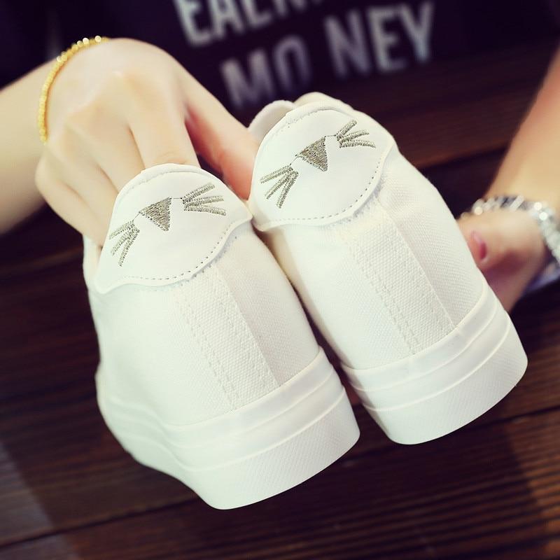 Hidden Heel Sneaker Woman White Cartoon Canvas Shoes For Women High Heels 6CM Wedges Platform Sneakers Tenis Feminino Casual