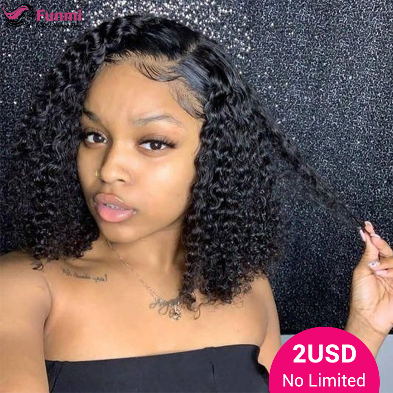 Jerry Curly Short Bob Lace Front Wigs Lace Front Human Hair Wigs Brazilian Kinky Curly Bob Wig 360 Lace Frontal Human Hair Wigs