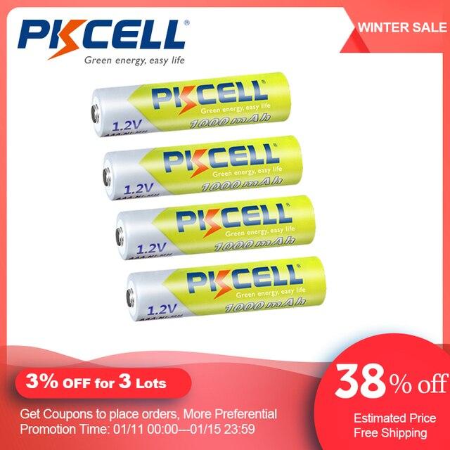 4/8 adet PKCELL AAA NIMH şarj edilebilir pil 3A 1000mah 1.2V NI MH AAA pil piller şarj edilebilir aaa up 1000 çember times