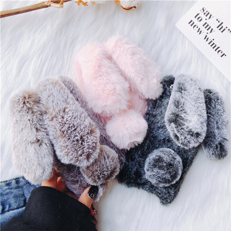 LLZ.COQUE Bling Fluffy Rabbit Fur Cute Silicone Bunny Plush Phone Case for Huawei Mate 20 P20 P30 Lite Pro Furry Cover Coque On(China)