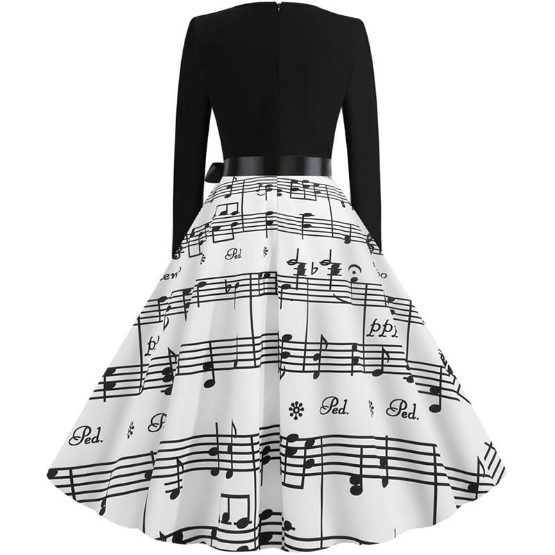 Women Long Sleeve Winter Vintage Dresses Sexy Black Music Note Print V-neck Rockabilly Pin up Party Dress Vestidos Plus size 511