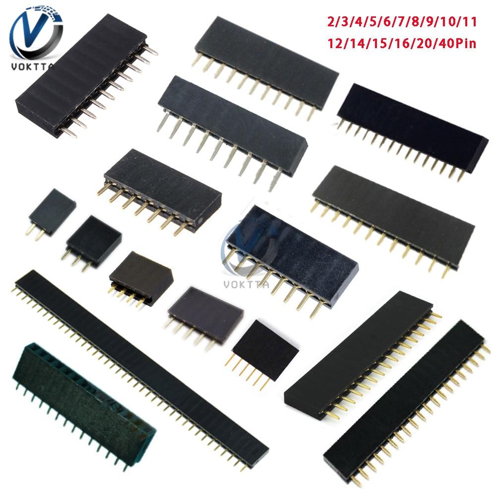 10Pcs 2.54mm Single Row Pin Female Pin Header Socket 2p 3p 4p 5p 6p 7p 8p 9p 10p 11p 12p 14p 15p 16p 20p 40p Pin Connector