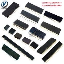 10 Uds 2,54mm Row Pin hembra Pin Header hembra 2p 3p 4p 5, p 6p 7p 8p 9p 10p 11p 12p 14p 15p 16p 20p 40p Pin conector