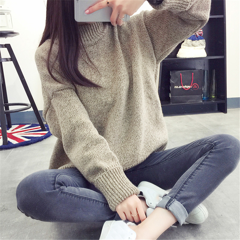 Thick Sweater Women Winter Korean Loose Pullovers Casual Solid Long Sleeve Turtleneck Sweater Harajuku Chic Knit Sweater Female