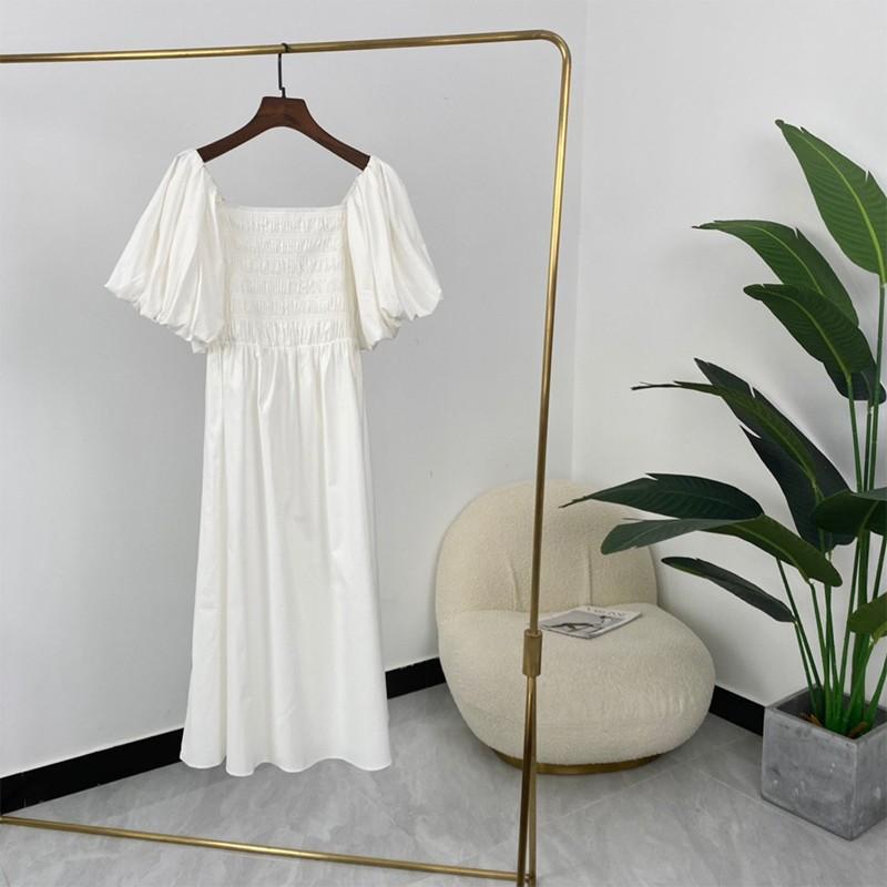 2021 Ladies Fashion Elegant Solid Highest Quality Luminous Organic Cotton Puff Sleeve Slash Neck Midi Dresses
