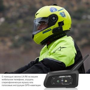 Image 4 - ليكسين R6 خوذة بلوتوث سماعات إنترفون ل 6 الدراجين BT 1 قطعة مقاوم للماء و اللاسلكية موتو البيني MP3