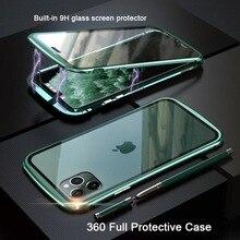 Capa magnética 360 graus para iphone, capa de metal, proteção completa, para iphone 11 pro max, temperada pára choque de vidro