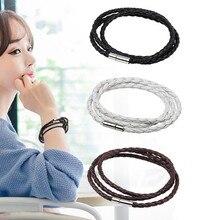 цена на Black Retro Multilayered Wrap Long Leather Bracelet Men Bangles Stainless Steel Buckle Sporty Chain Link Male Charm Bracelet
