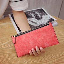 womens wallets and purses long PU leather women girl purse wallet mobile thin zip handbag 2019 luxury solid color slim