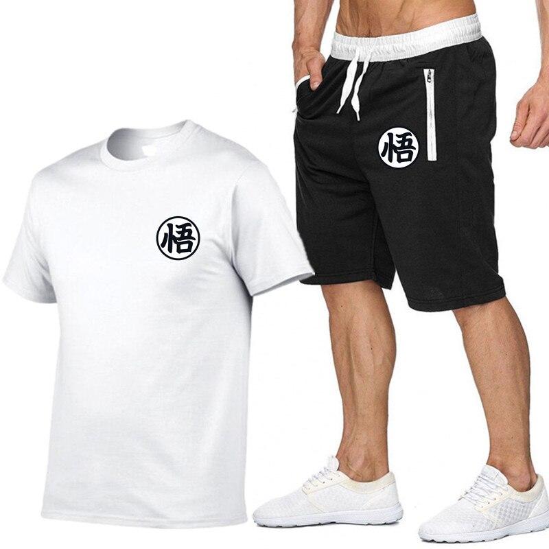 Summer Anime Dragon Ball Z Short Sets Men Casual Suits Sportswear Tracksuit Cotton T-shirt+Shorts Casual Hip Hop Print Clothing