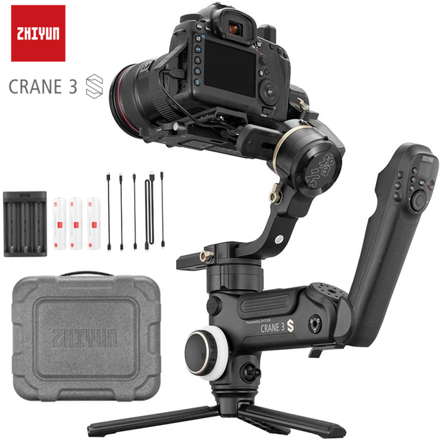 Zhiyun Crane 3S 3 Axis Handheld Gimbal Stabilizer for DSLR Cameras and Camcorder, 6.5kg Payload, Extendable Roll Axis