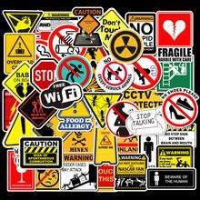 50 Uds pegatinas de advertencia Cool impermeable Spoof monopatín Graffiti Pad coche Laptop Snowboard y bicicleta Calcomanía para equipajes pegatina