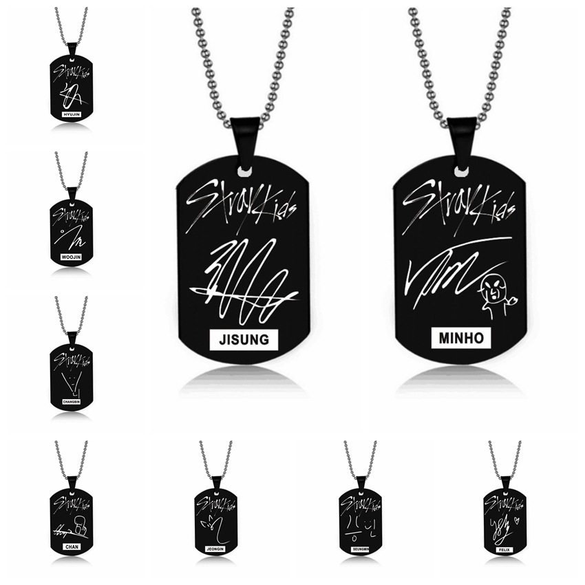 Stray Kids Signature Pendant Birthday Name Stainless Steel Pendant Necklace Black Metal Tag Necklaces for Women Men Jewelry