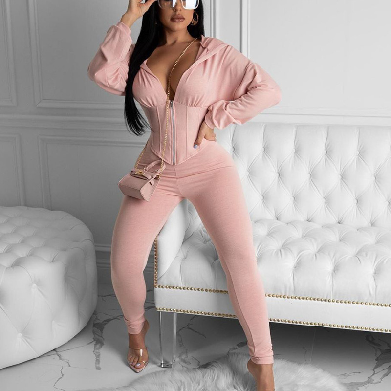 Two Piece Set Women Causal Tracksuit Zip Up Short Hoodies And Skinny Long Pants Set Solid Chic Suits Streetwear