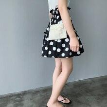 New Summer 2019 Flounces High Waist Wave Point Womens Skirt Flower Corn Ruffles A-Line Dot Mini Chiffon Female