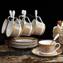 цена на Fashion ceramic tea cup Mosaic H cup bone china coffee cup saucer set ceramic coffee mug household tea cup saucer and spoon