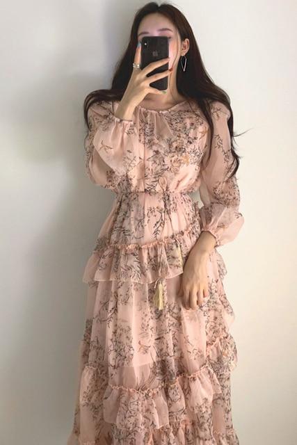 WAVSIYIER print floral vintage party a-line long sleeve woman korean style autumn winter elegant dresses 2020 loose dress women 6