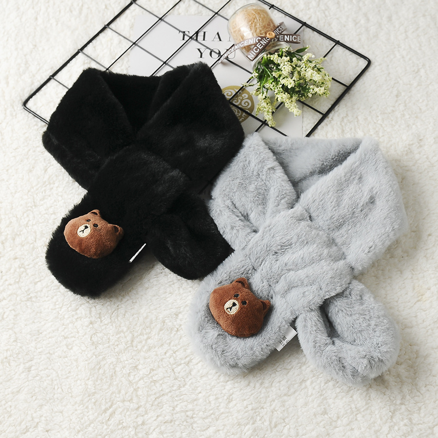 Autumn And Winter Versatile New Style Cartoon Brown Bear Faux Rabbit Fur Autumn And Winter CHILDREN'S Scarf Warm Thick Cross Sca