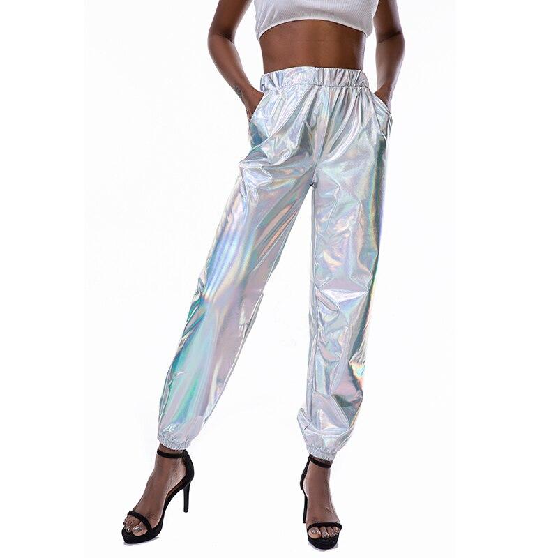 Silver Holographic Wet Look Long Pants Women High Waist Pencil Pants Fashion Hip Hop Girl Street Dance Party Shiny Long Trousers