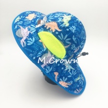 Kids Boys New 100% Polyester Sublimation Print Buckets UV Protection Caps with Cloak