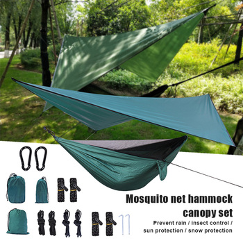 High Outdoor Tree Tent Hammock Set with Removable Anti Mosquito Net Mesh for Outdoor Camping Hiking DOG88