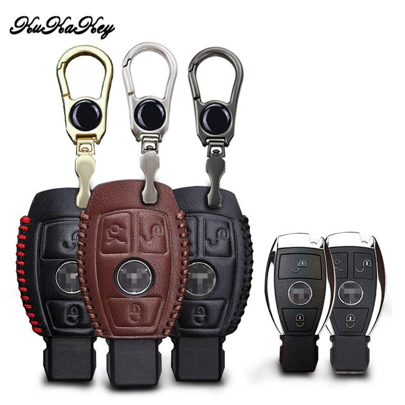 غطاء لمفتاح السيارة من الجلد الأصلي لسيارة Mercedes Benz W124 W202 W203 W204 W210 W211 W213 CLA AMG حلقة مفاتيح key case for car case key mercedesamg key case -