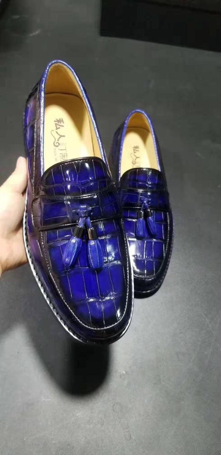 Luxury quality Newly design Genuine real genuine crocodile belly high glossy shinny skin 2 mixed colors men business dress shoe