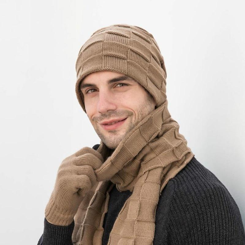 Helisopus New Men's Winter Hats Gloves Scarf Hat Three-Piece Set Solid Color Warm Caps Outdoor Beanies Set Men's Gift