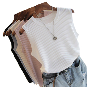 Knitted Vests Women Top O-neck Solid Tank Blusas Mujer De Moda Spring Summer New Fashion Female Sleeveless Casual Thin Tops 4588