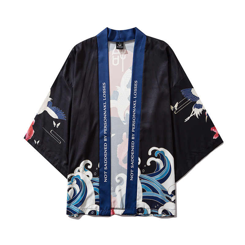 Kimono japonés tradicional kimono cardigan kimono chaqueta yukata hombres estampado floral casual tapas sueltas yukata Japón