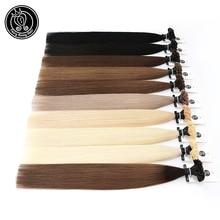 """Fusión de queratina enlace extensiones de cabello humano cápsula U Tip de uñas Real Remy cabello Pre enlazado rubio platino 16 """"18"""" 20 """"0,8g/hebra"""