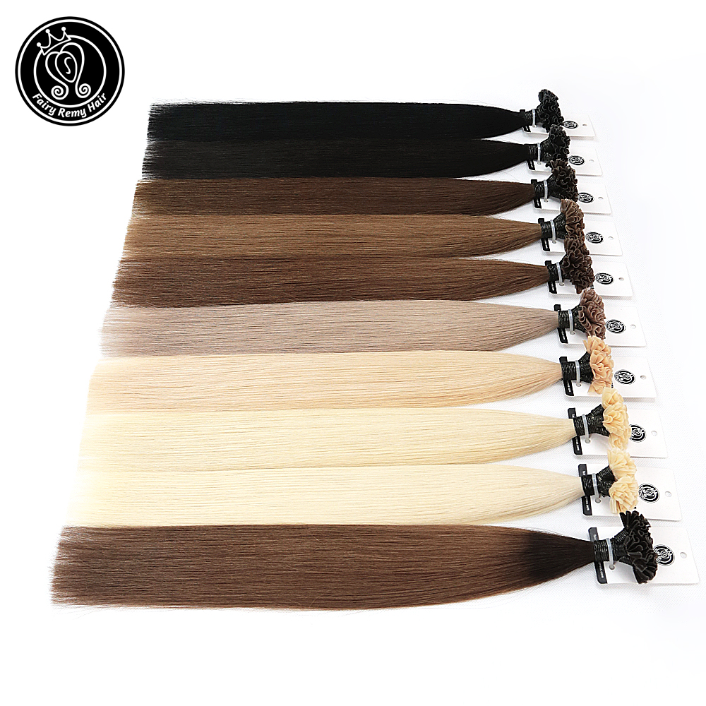 Clearance SaleCapsule U-Nail-Tip Human-Hair-Extensions Hair-Platinum-Blonde Pre-Bonded Real-Remy Fusion