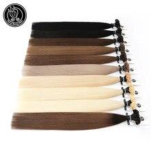 Extensions de cheveux humains Remy pré-collés, couleur blond platine, Capsule, kératine, bout d'ongle, 16, 18, 20, 22 pouces, 0.8g/pièce