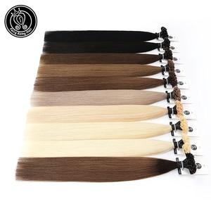 "Image 1 - Fusion Keratin Bond Human Hair Extensions Capsule U Nail Tip Real Remy Pre Bonded Hair Platinum Blonde 16"" 18"" 20"" 0.8g/strand"