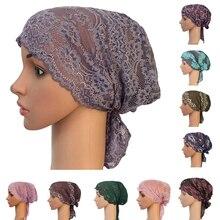 Turbante musulmán para mujer, gorro interior árabe de encaje, sombrero islámico para quimio, funda, gorro con flor, gorro para la caída del pelo, gorro de cola larga suave