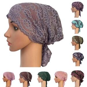 Image 1 - Turbante musulmán para mujer, gorro interior árabe de encaje, sombrero islámico para quimio, funda, gorro con flor, gorro para la caída del pelo, gorro de cola larga suave
