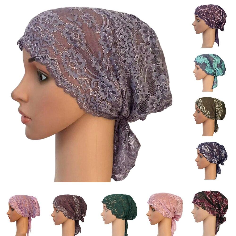 Women Muslim Turban Inner Cap Arab Lace Islamic Headwear Chemo Hat Wraps Cover   Beanie   Flower Hair Loss Cap Soft Long Tail Bonnet