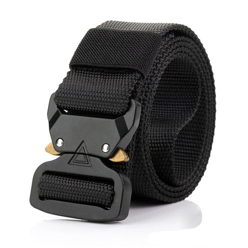 115-135 CENTÍMETROS Homens Cinto de Lona Tático Exército Designer de Cinto Para Calças Cobra Triângulo Projeto Fivela de Metal Longo Militar cintas de nylon