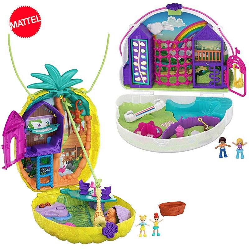 Original Polly Pocket Tropicool Pineapple Purse Party Box Surprise Birthday Hidden World Mini Scene Store Girls Toys Gift Dolls