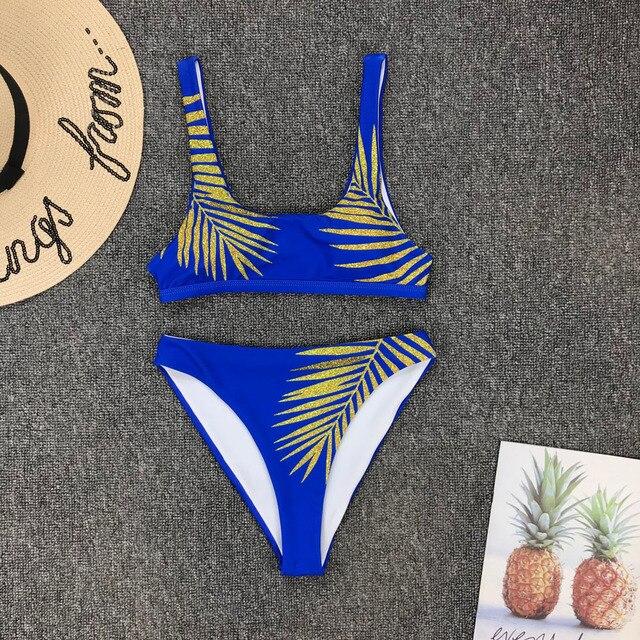 2019 New High Waist  Bikini set Yellow Bandeau Swimsuit Sexy Print Thong Bikini Women Swimwear Two-pieces Bather Bathing Suit 3