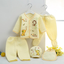 цена на Jchao kids 5pcs Baby boy clothes New 2017 autumn winter Newborn Baby Sets Infant Girl Clothing Suits Cotton Thick warm underwear