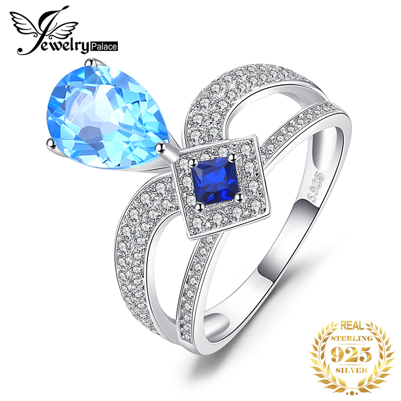 JewelryPalace Regal 6.8ct Pear Swiss Blue Topaz & Princess Cut Created Blue Spinel Cooktail Ring For Woman 925 Sterling Silver