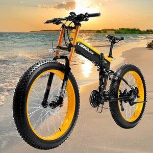 T750PLUS CE качество 26 ''с толстыми покрышками складной электронного велосипеда 48V 1000W Электрический горный велосипед, фара для электровелосипед...