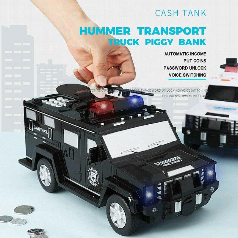Senha de impressão digital dinheiro caminhão carro piggy bank crianças caixa de dinheiro moeda banco de papel caixa de armazenamento de poupança segura música brinquedo presente