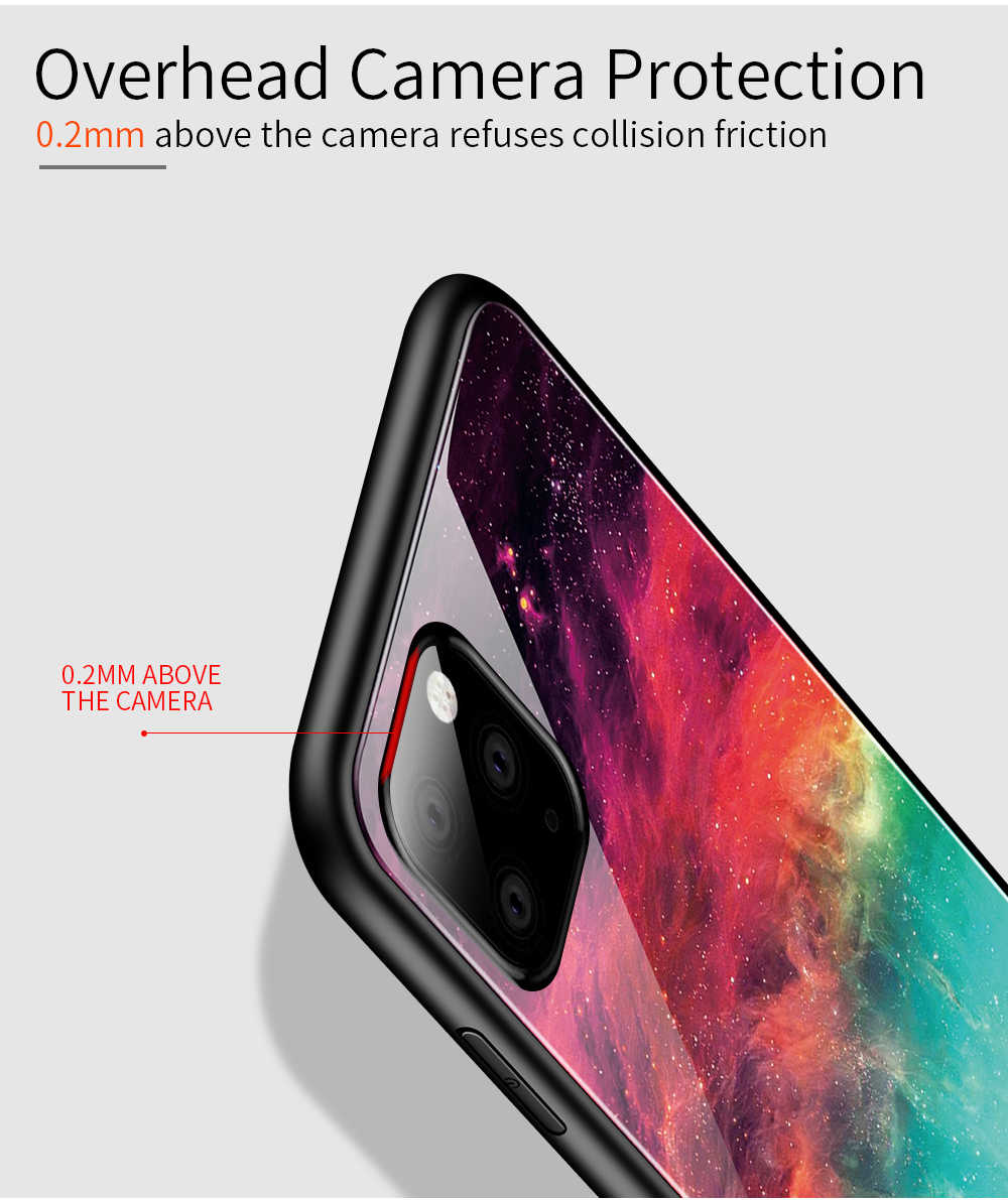 For iphone 11 Pro Max Case Tempered Glass Gradient Phone Case For iphone 11 Pro XR X 10 XS MAX 7 8 6 6S Plus Colorful Back Cover
