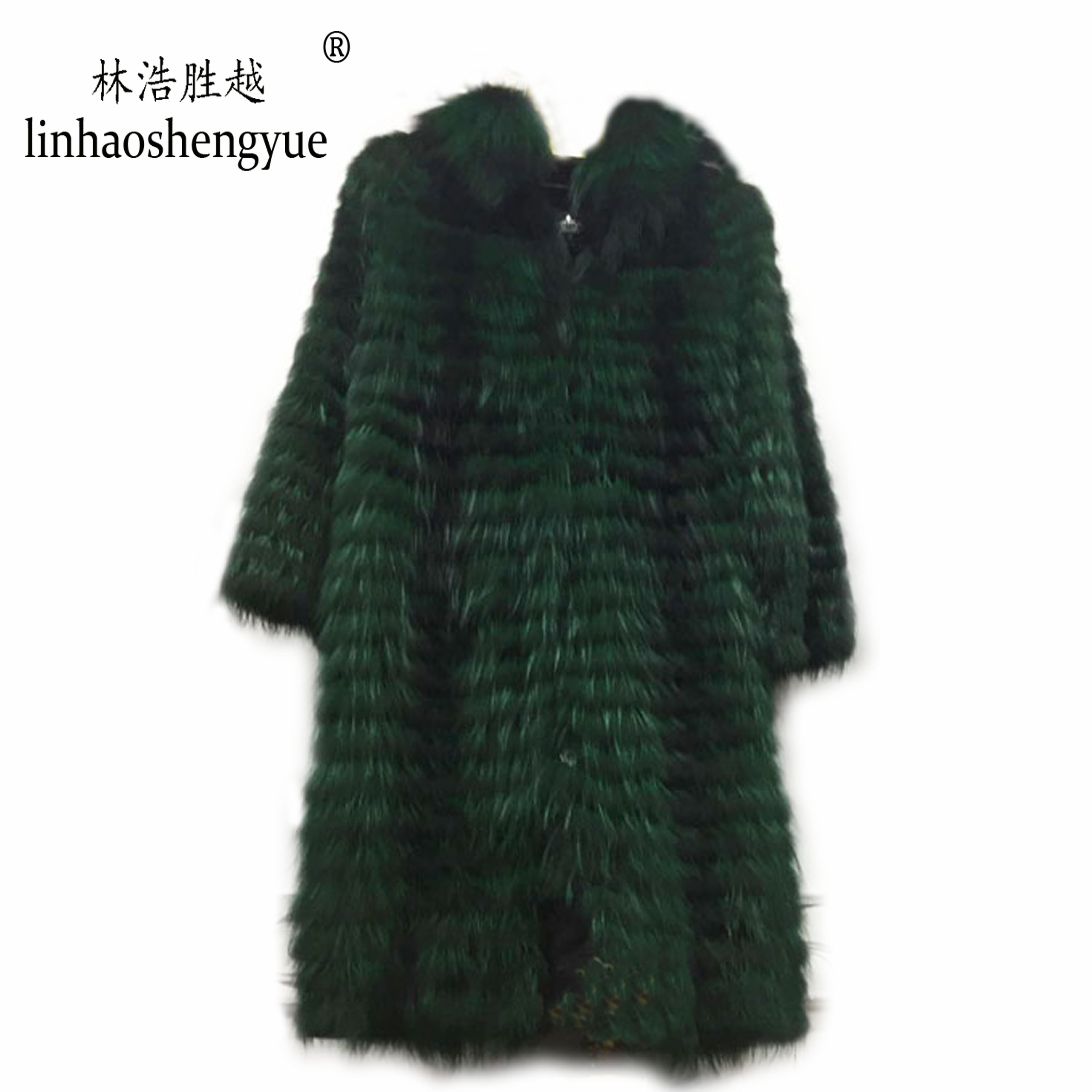 Image 5 - Linhaoshengyue  90cm long real Silver fox red  fox nature fur coat   Wool  knit liner,stylish stand collarReal Fur   -