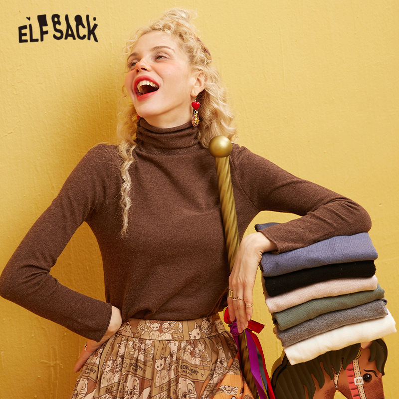 ELFSACK Multicolor Solid Minimalist Casual Knit Pullover Sweater Women 2020 Winter Pure Long Sleeve Office Ladies Skin Basic Top